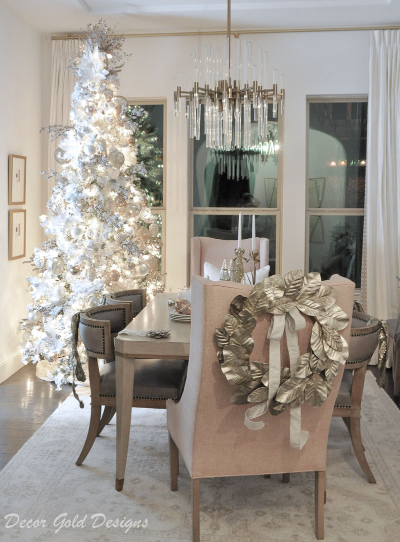Christmas home night lights tour elegant dining room