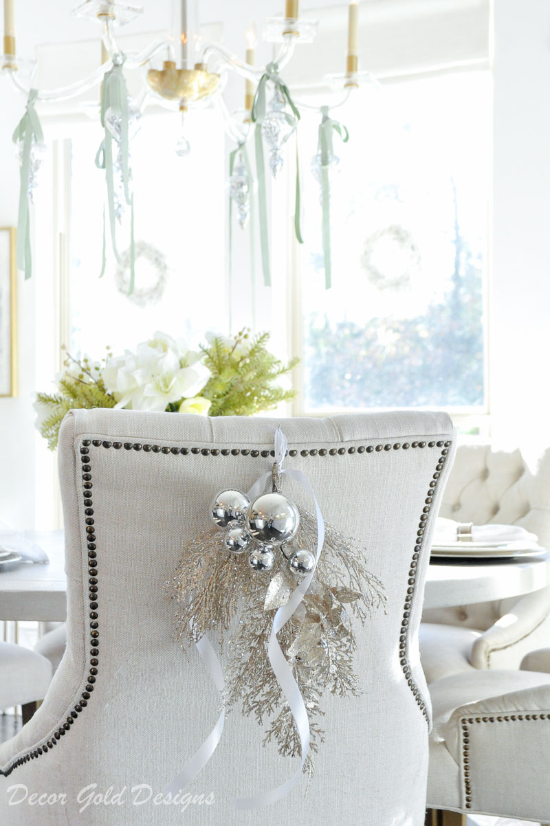 Beautiful Christmas home tour swag dining chair