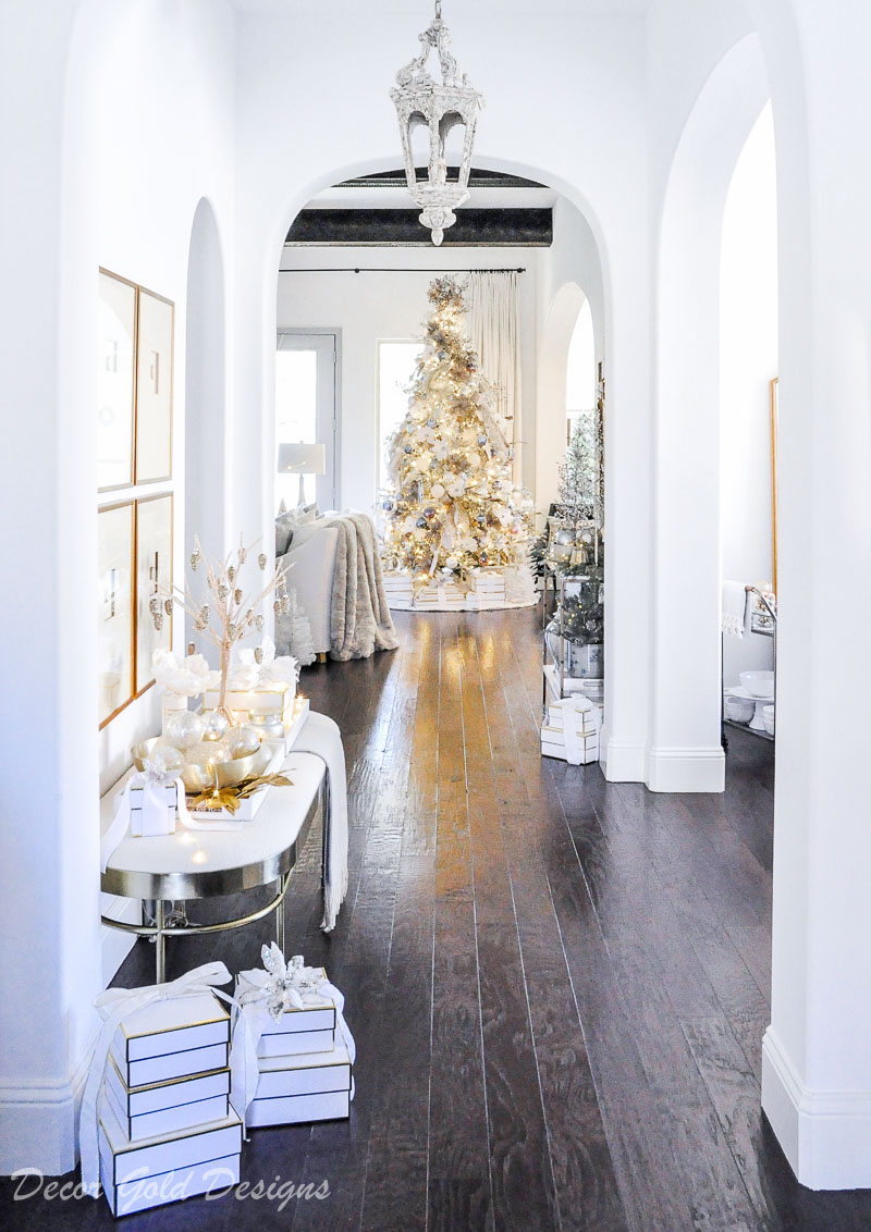 Beautiful Christmas home tour tree elegant arched entry hall