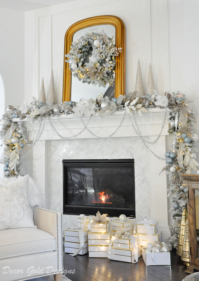 Christmas Home Tour fireplace mantel garland
