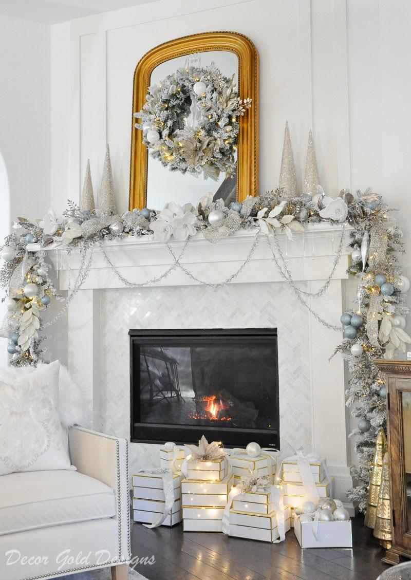 Christmas Home Tour fireplace mantel garland