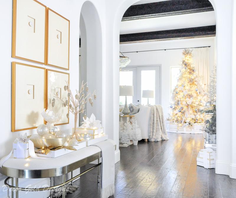 Beautiful Christmas home tour gold bench framed art