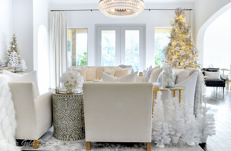 Beautiful Christmas home tour white bright living room