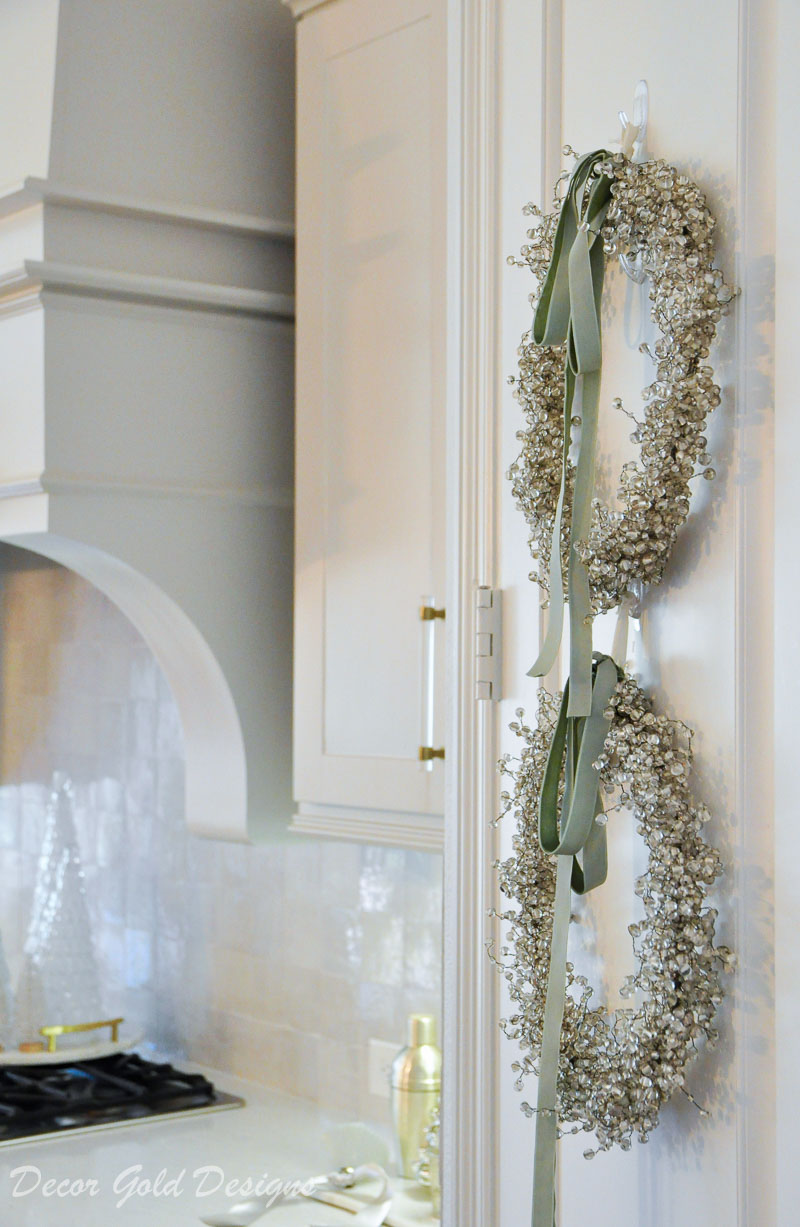 Christmas home tour beaded wreaths on door