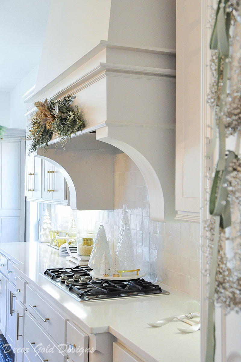 Christmas home tour beautiful decorated kitchen vent hood