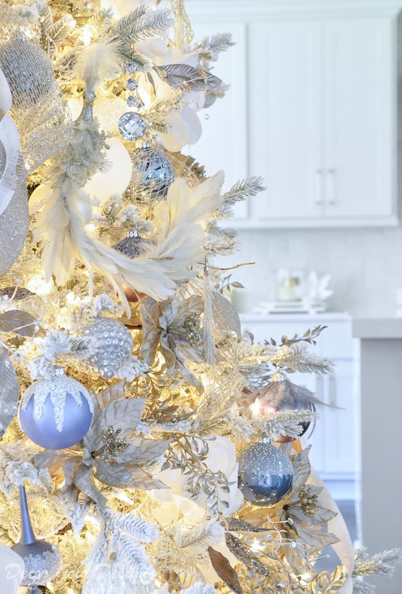 Beautiful Christmas home tour flocked tree