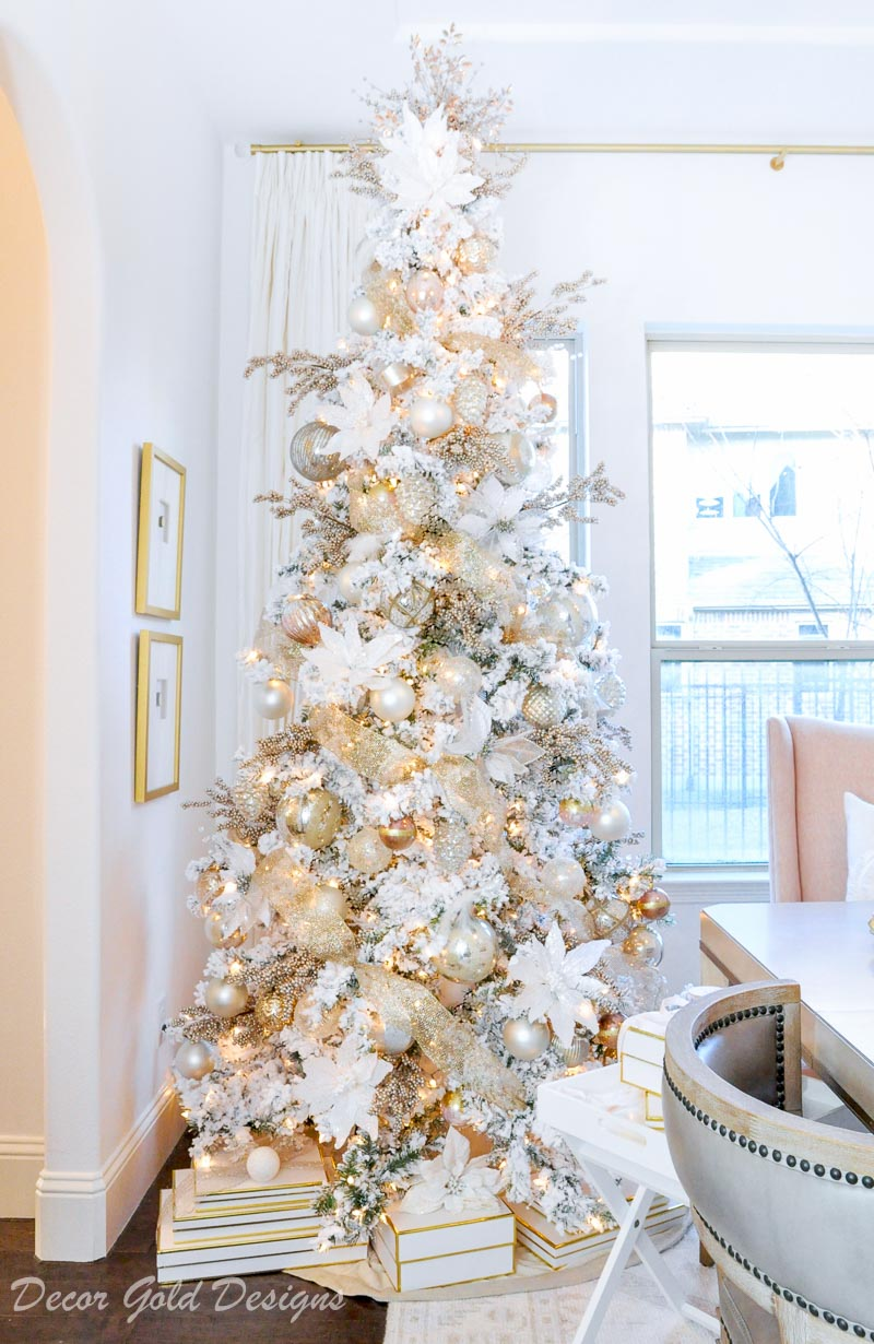 Elegant Christmas tree decorating steps soft colors