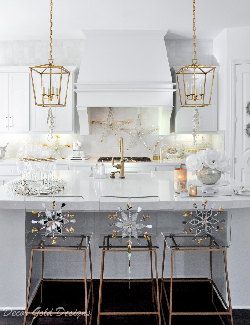 Holiday decorating kitchen ideas transition from Christmas to New Year's Eve decor
