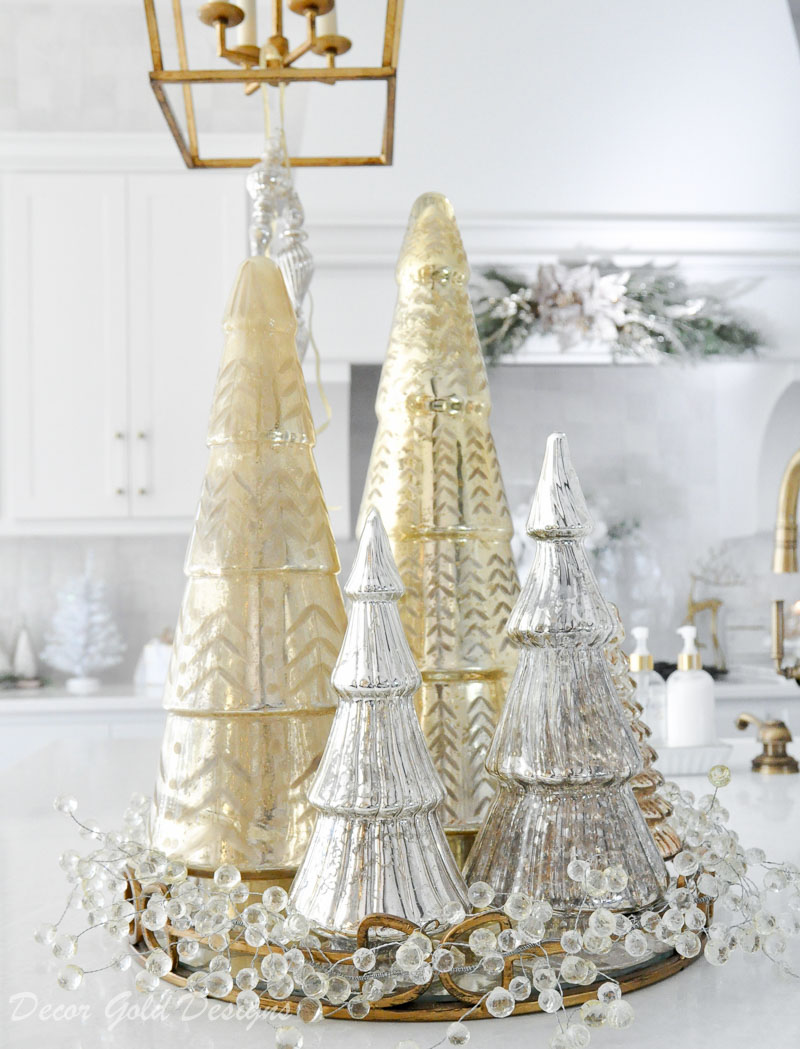 Holiday decorating kitchen ideas gold glass trees