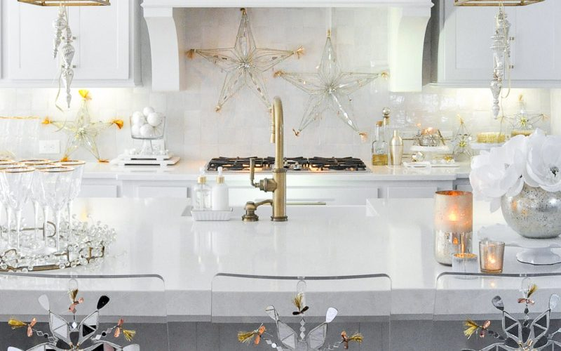 Beautiful holiday decorating kitchen New Year's Eve decor gold white