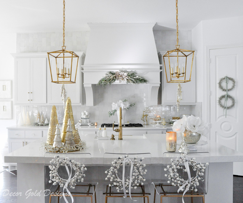 Holiday decorating kitchen ideas bright white gold