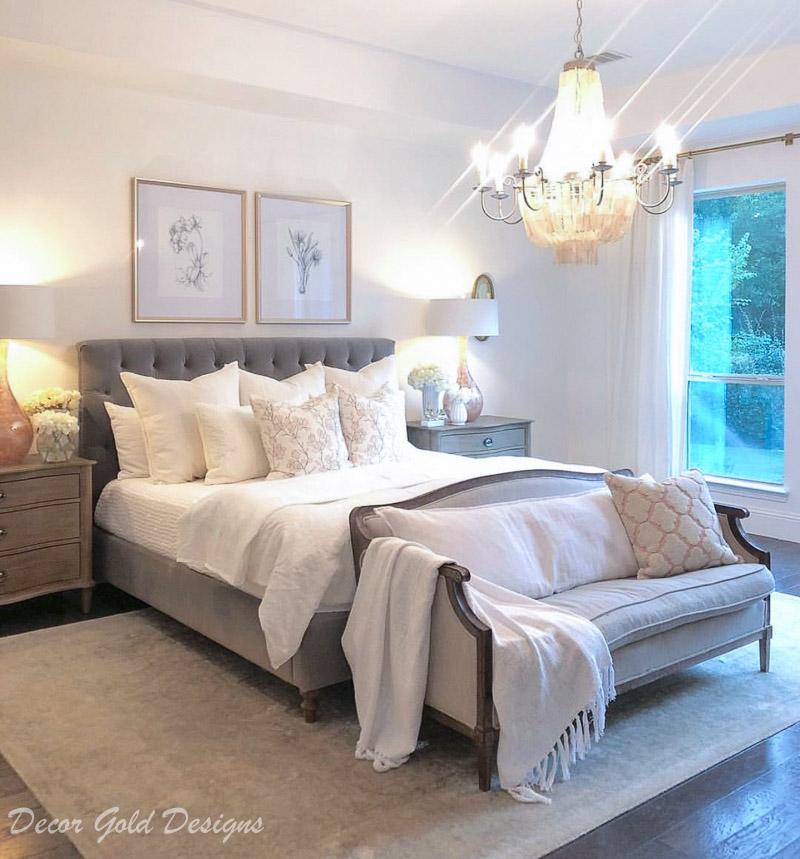 Instagram post master bedroom gray white blush