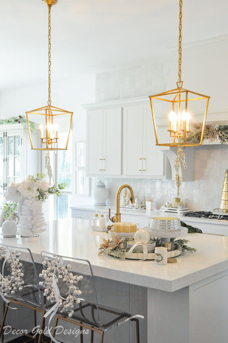 Gold light pendants beautiful holiday kitchen