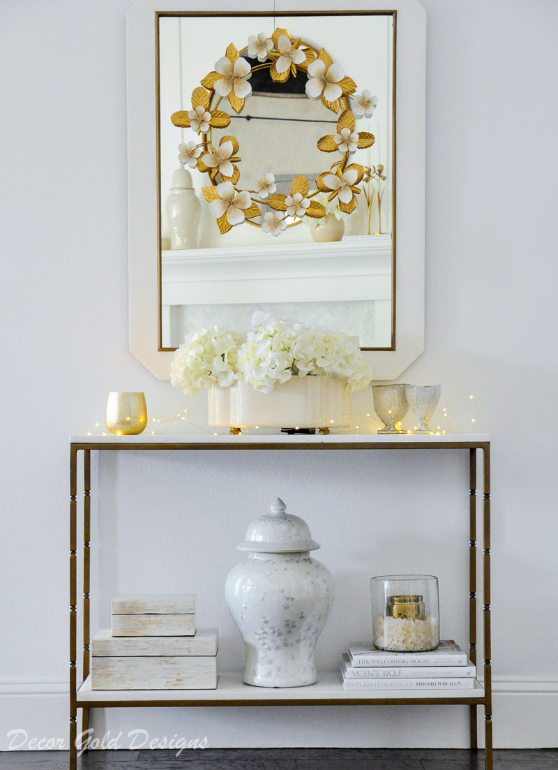console table mirror decorated gold white