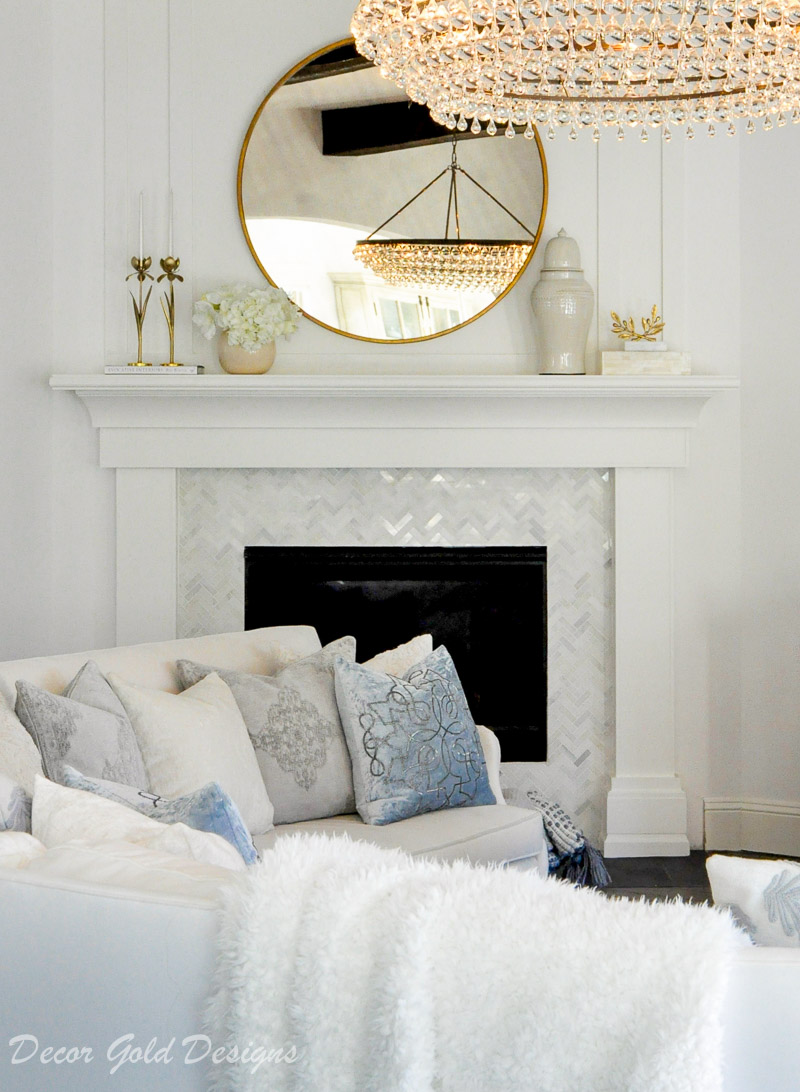 cozy white living room winter home decor