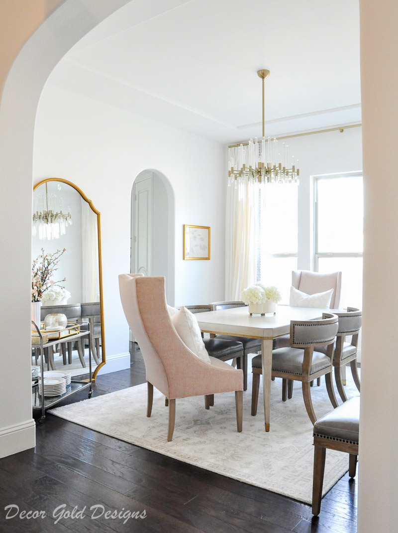 Elegant dining room blush end chairs
