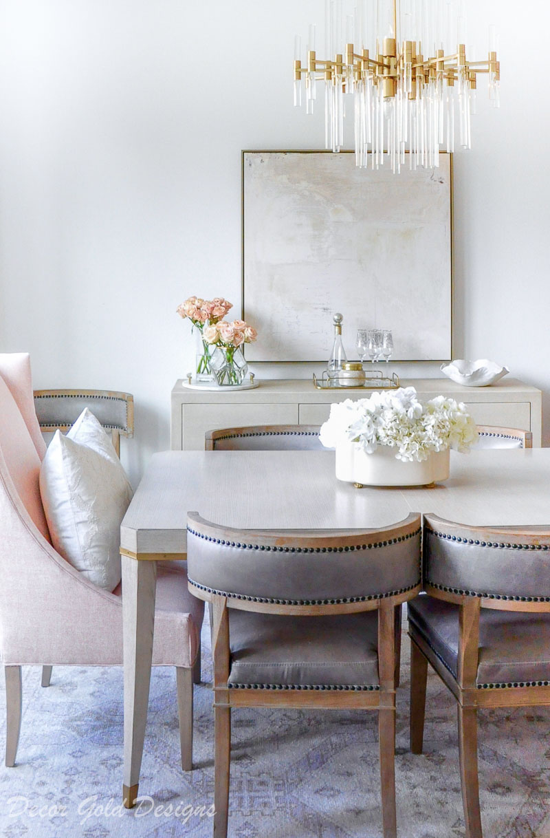 dining room neutral side chairs blush end chair