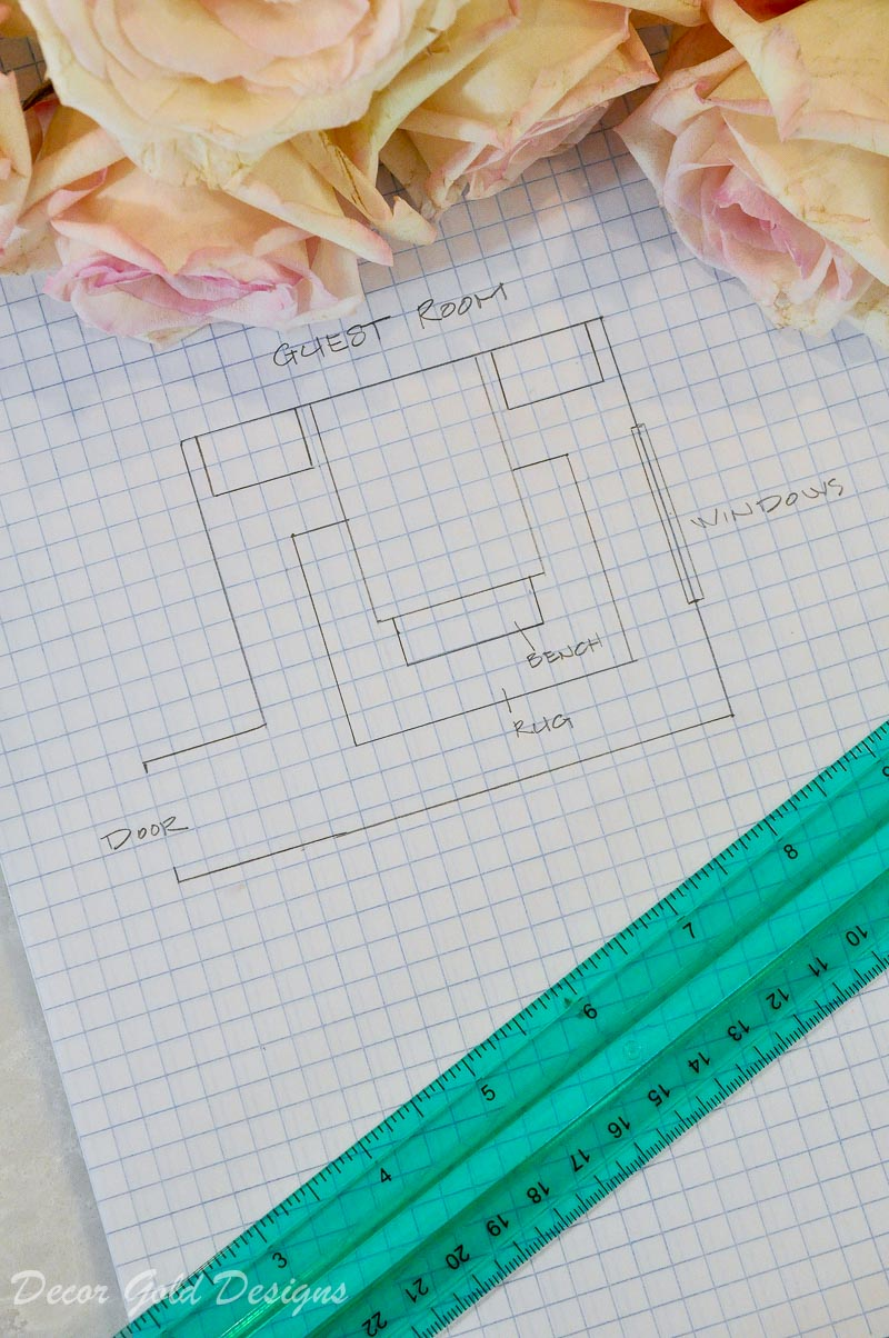 Drawing bedroom space plan graph paper