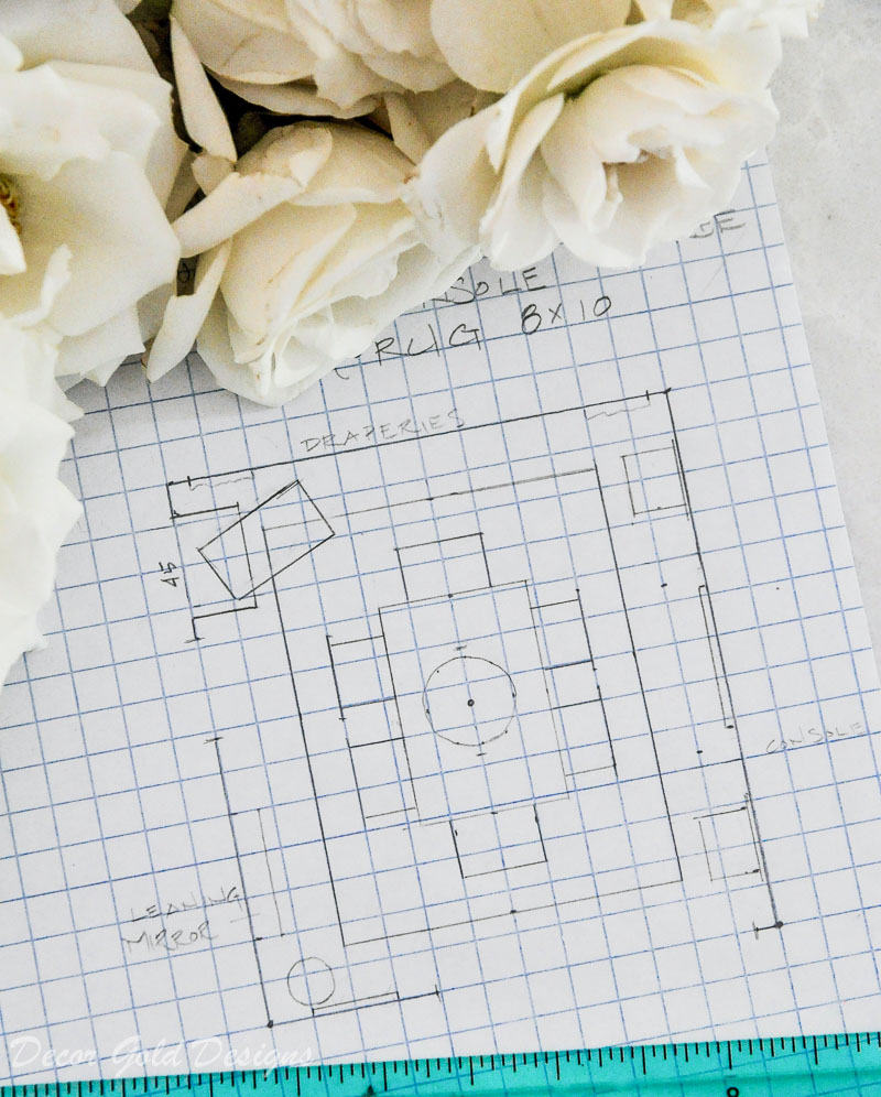 drawing graph paper dining room space plan