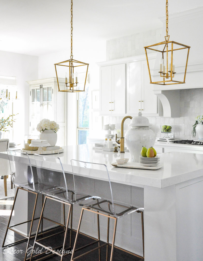 kitchen white cabinets gold accents