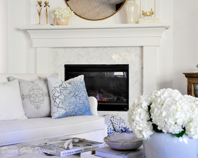 living room winter home decor fireplace