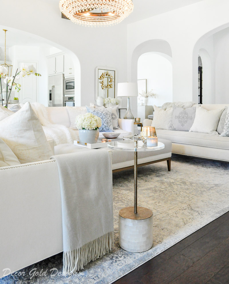 transitional white living room casual elegance winter decor