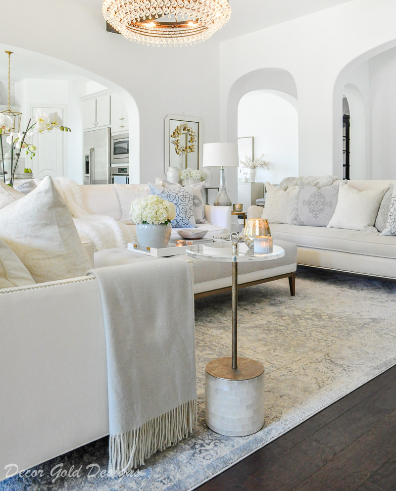warm white winter decor living room