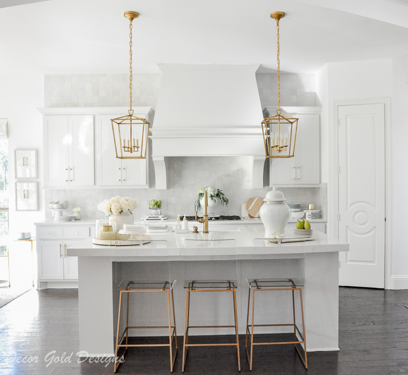 white kitchen lantern pendants gold lucite barstools