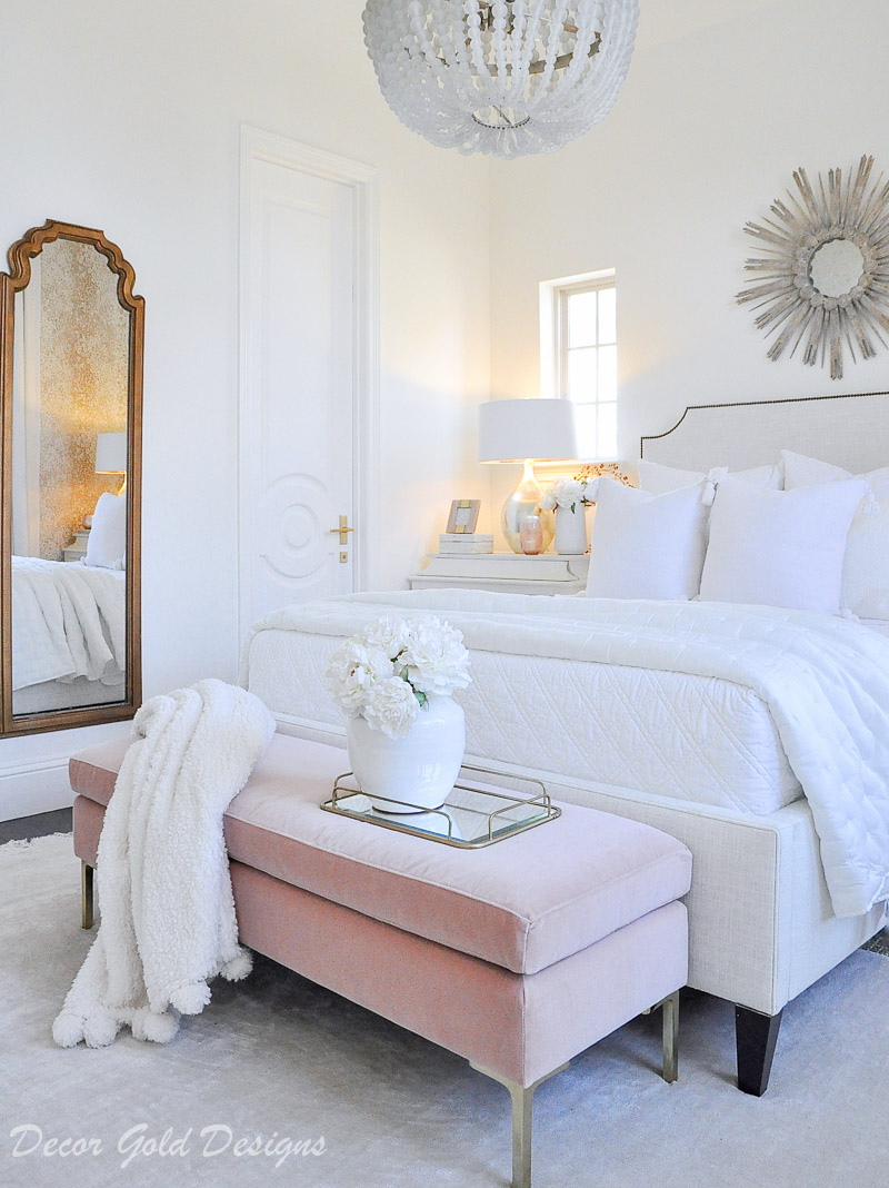 beautiful bedroom white bed blush bench feminine look