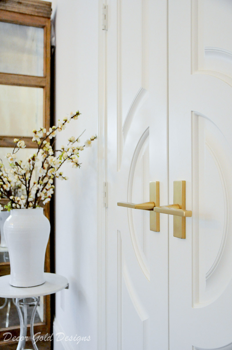 Beautiful double doors gold lever handles