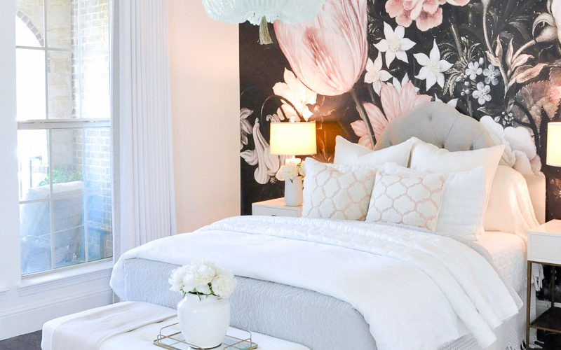 beautiful white bedroom drapery panel floral wallpaper