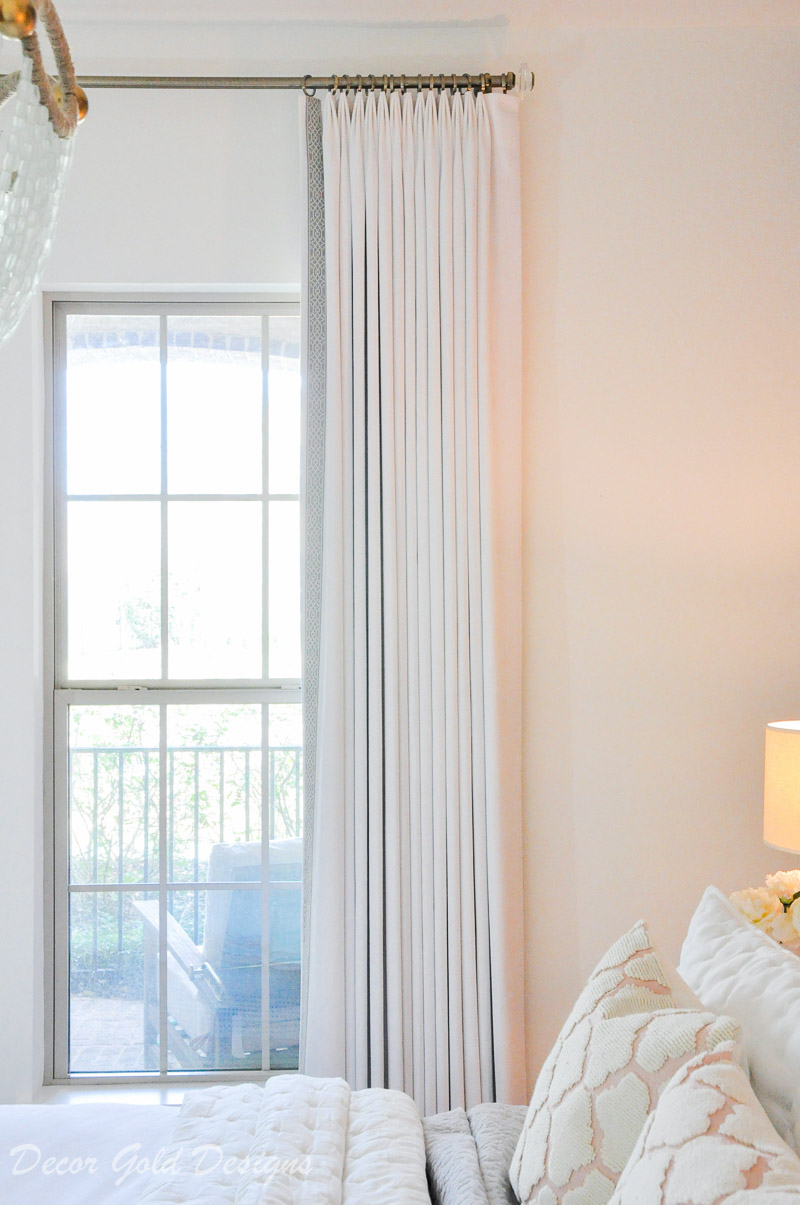 beautiful white bedroom drapery panel