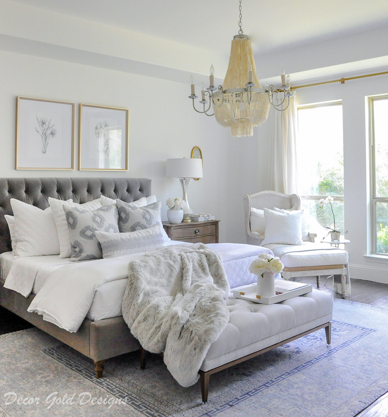 bedroom beautiful layered bedding white soft gray
