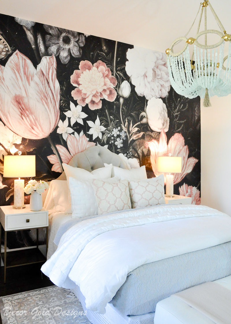 bedroom dark floral wallpaper blush black white