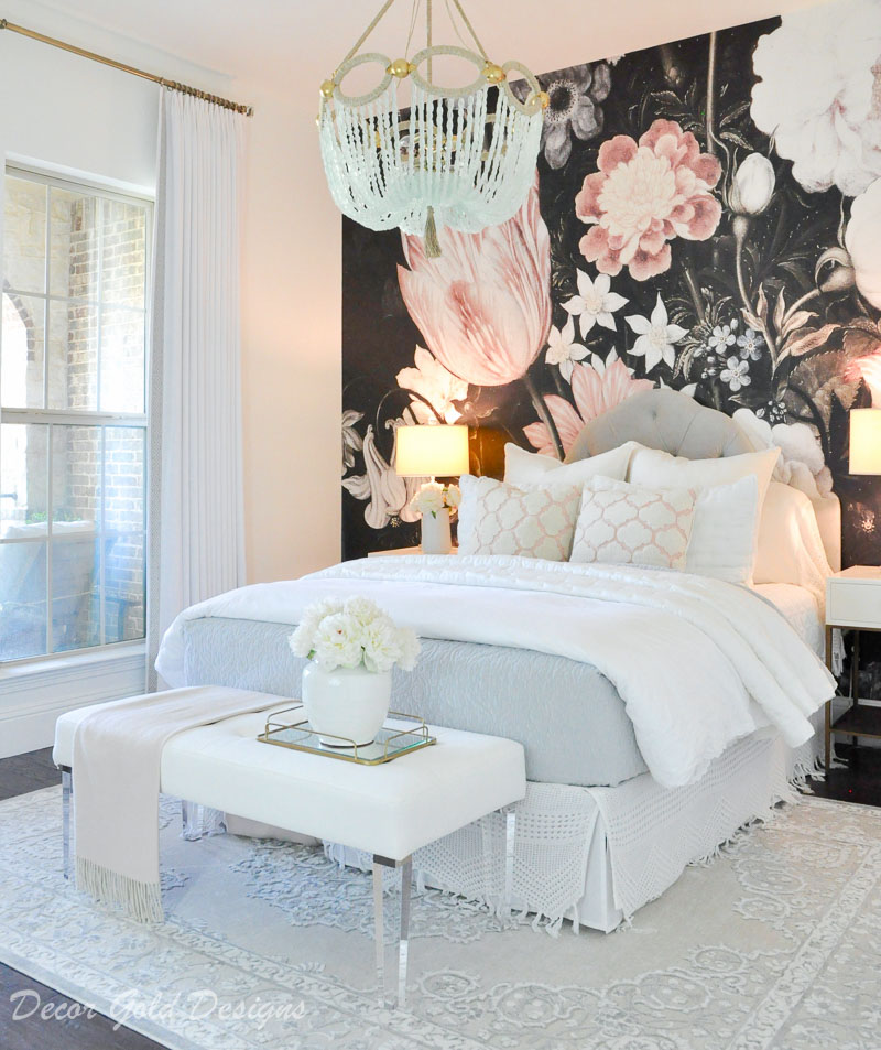bedroom dark floral wallpaper blush black white 5