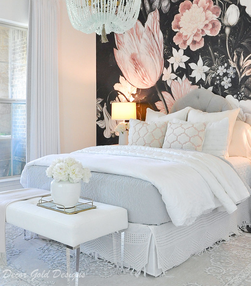 bedroom dark floral wallpaper blush pink black white