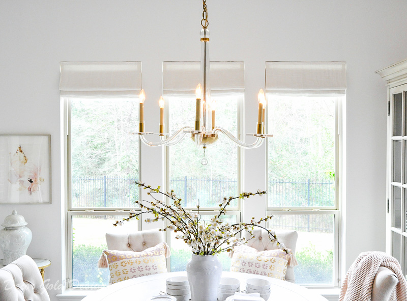 breakfast room chandelier glass brass accents