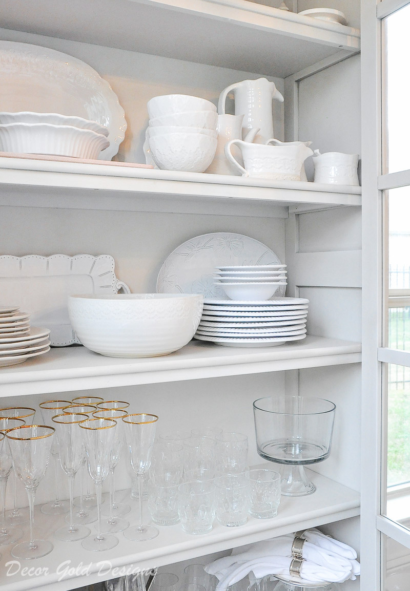dish storage cabinet white dinnerware clear glassware