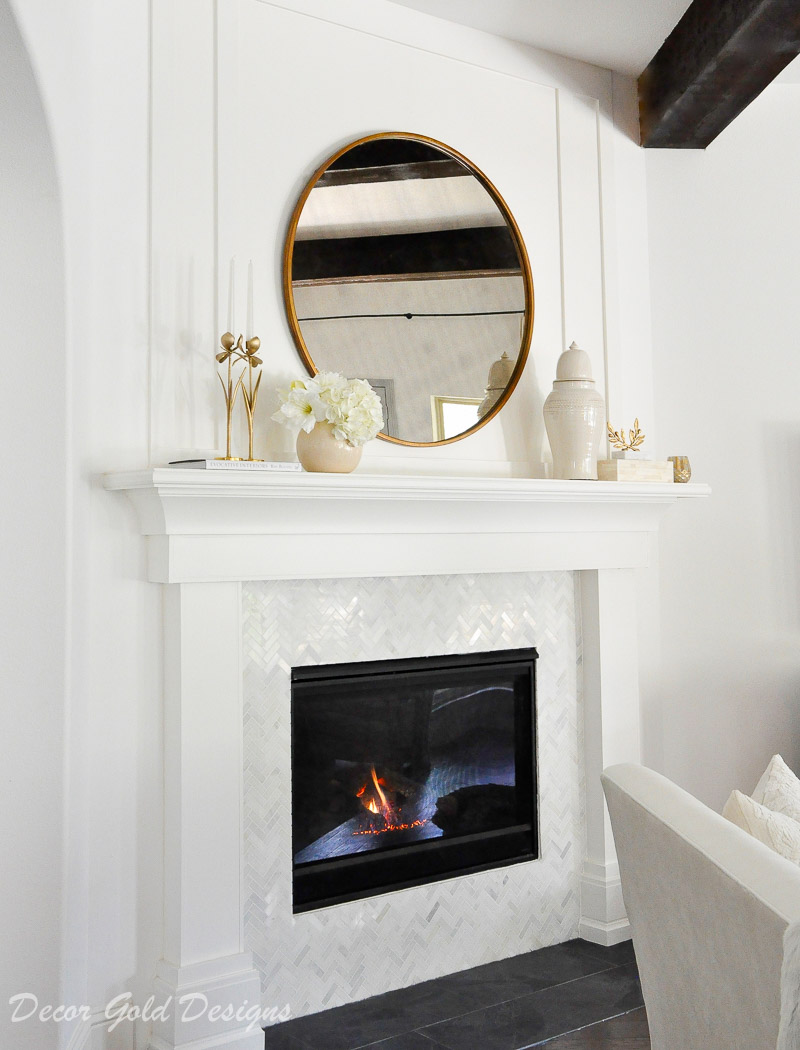 Beautiful fireplace mantel white trim moulding