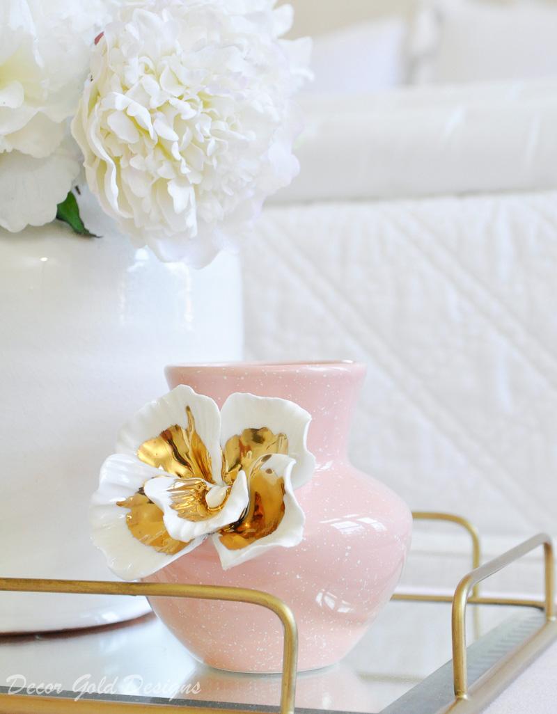 Gorgeous blush vase white gold accent flower