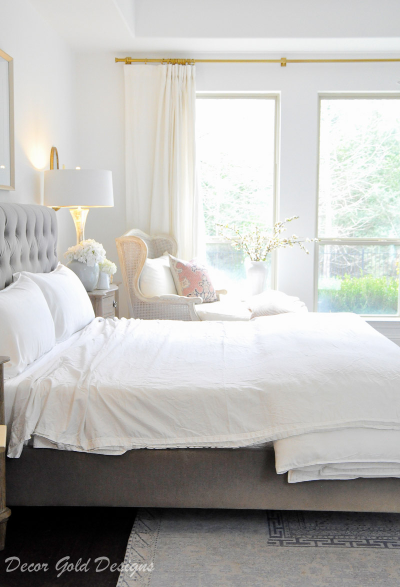 home bedroom gray white bedding