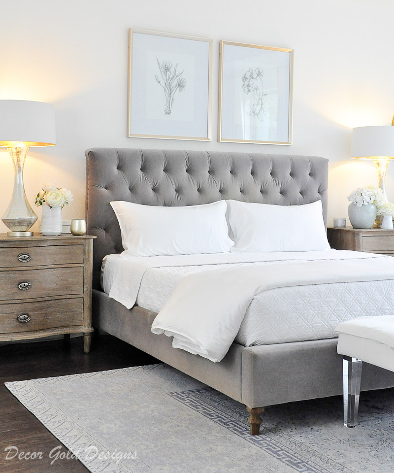 Beautiful bedroom decorated gray white