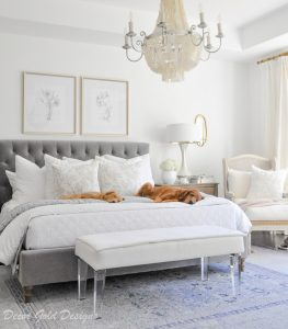 bedroom gray white bedding dogs
