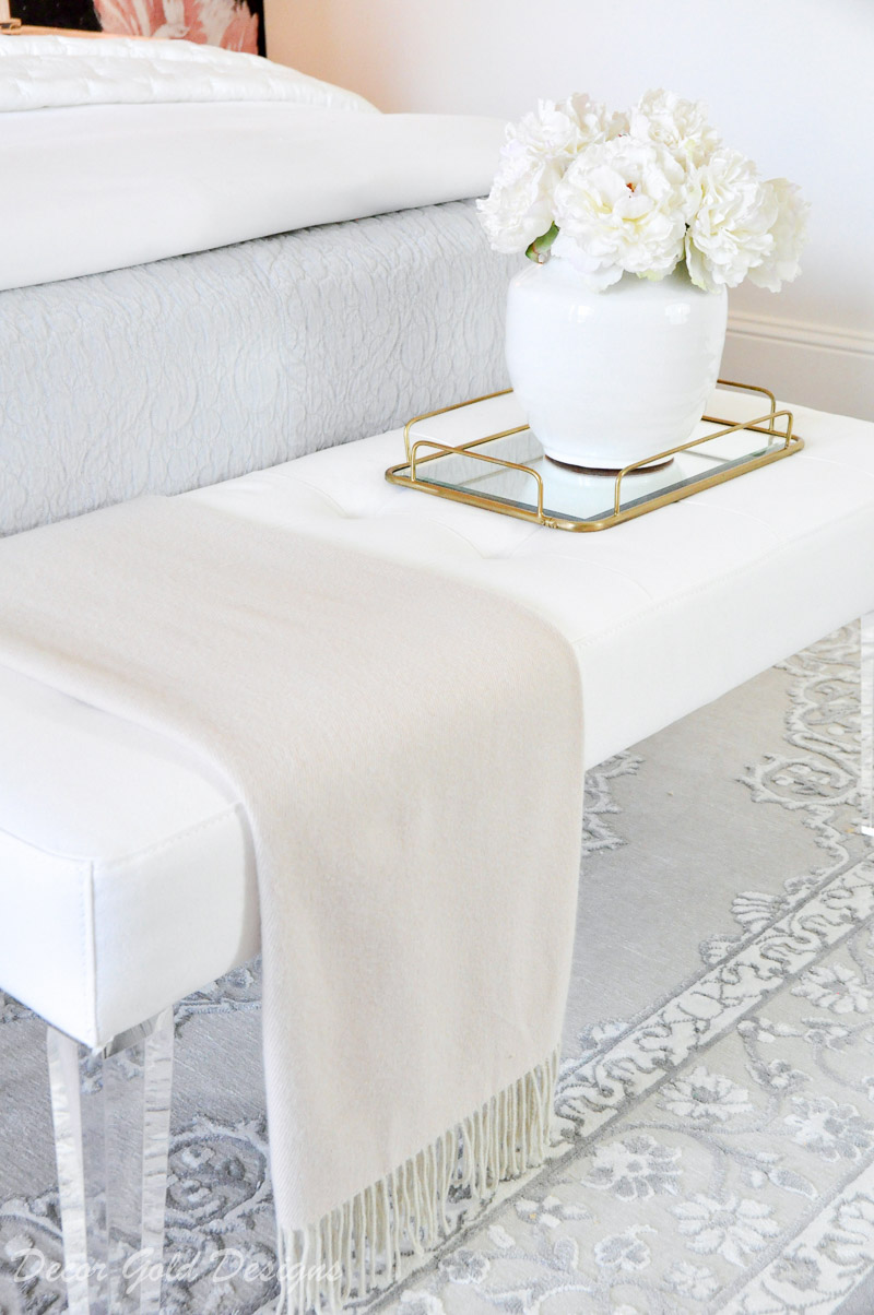 Beautiful white bedroom bench