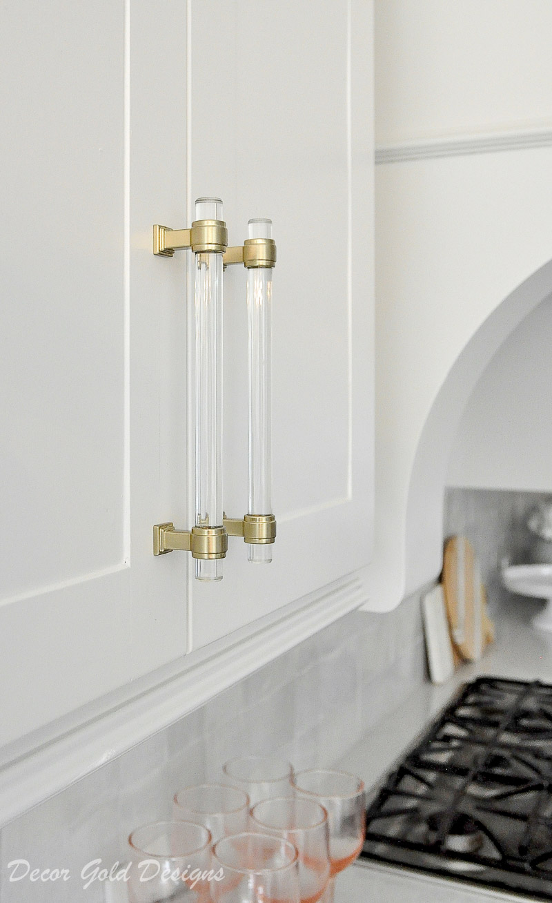 white kitchen cabinets glam hardware