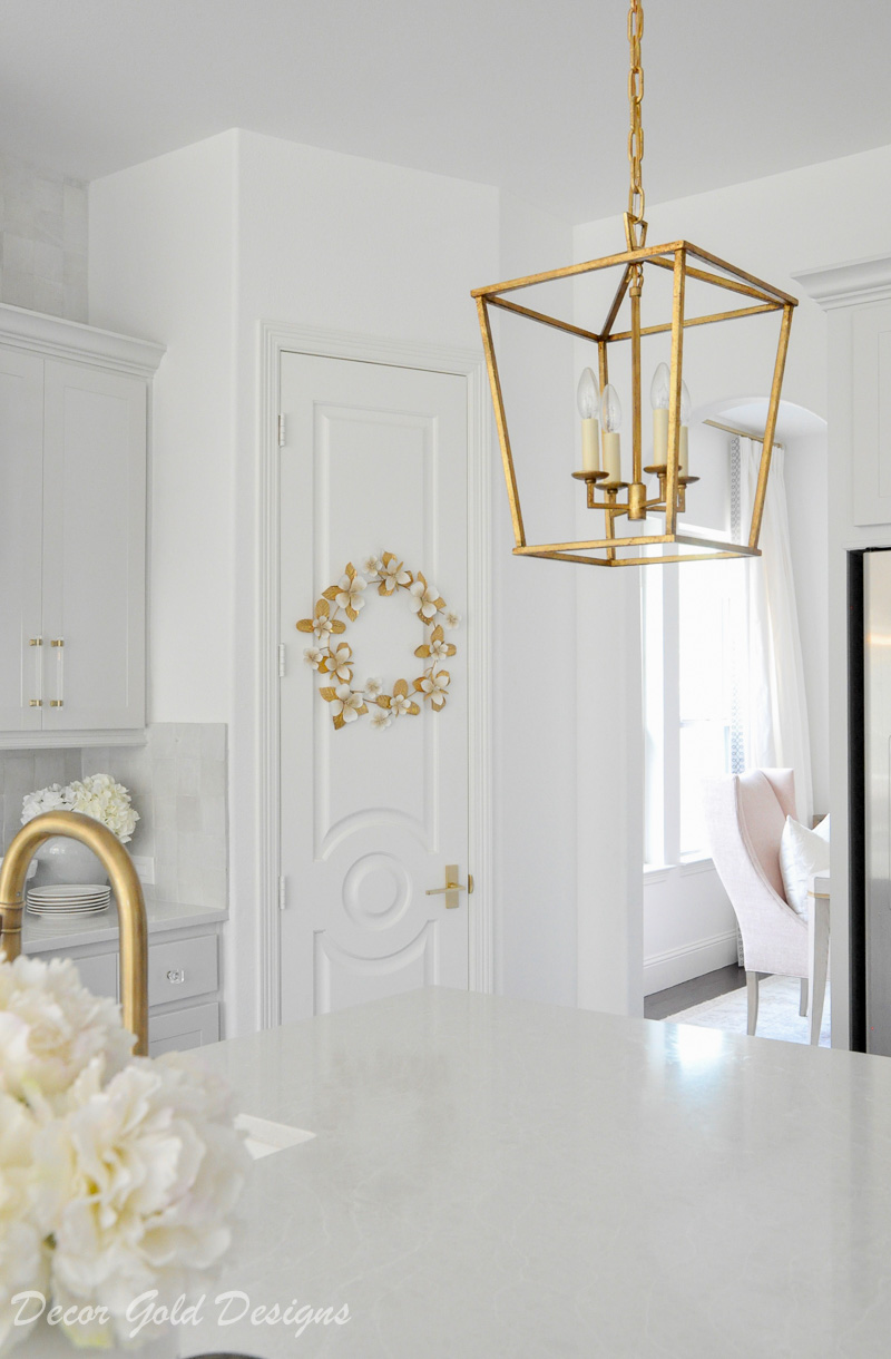 white kitchen gold accents beautiful solid pantry door