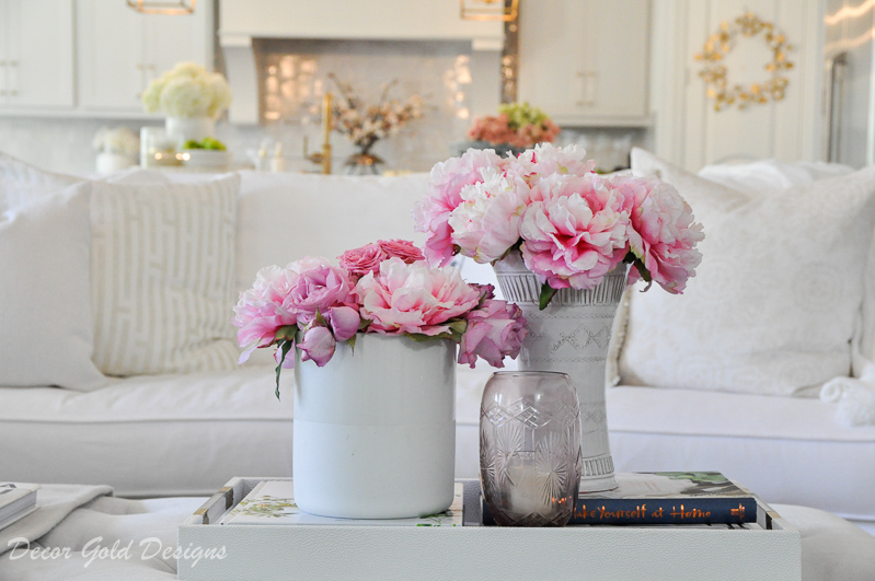 beautiful faux pink peonies white vases