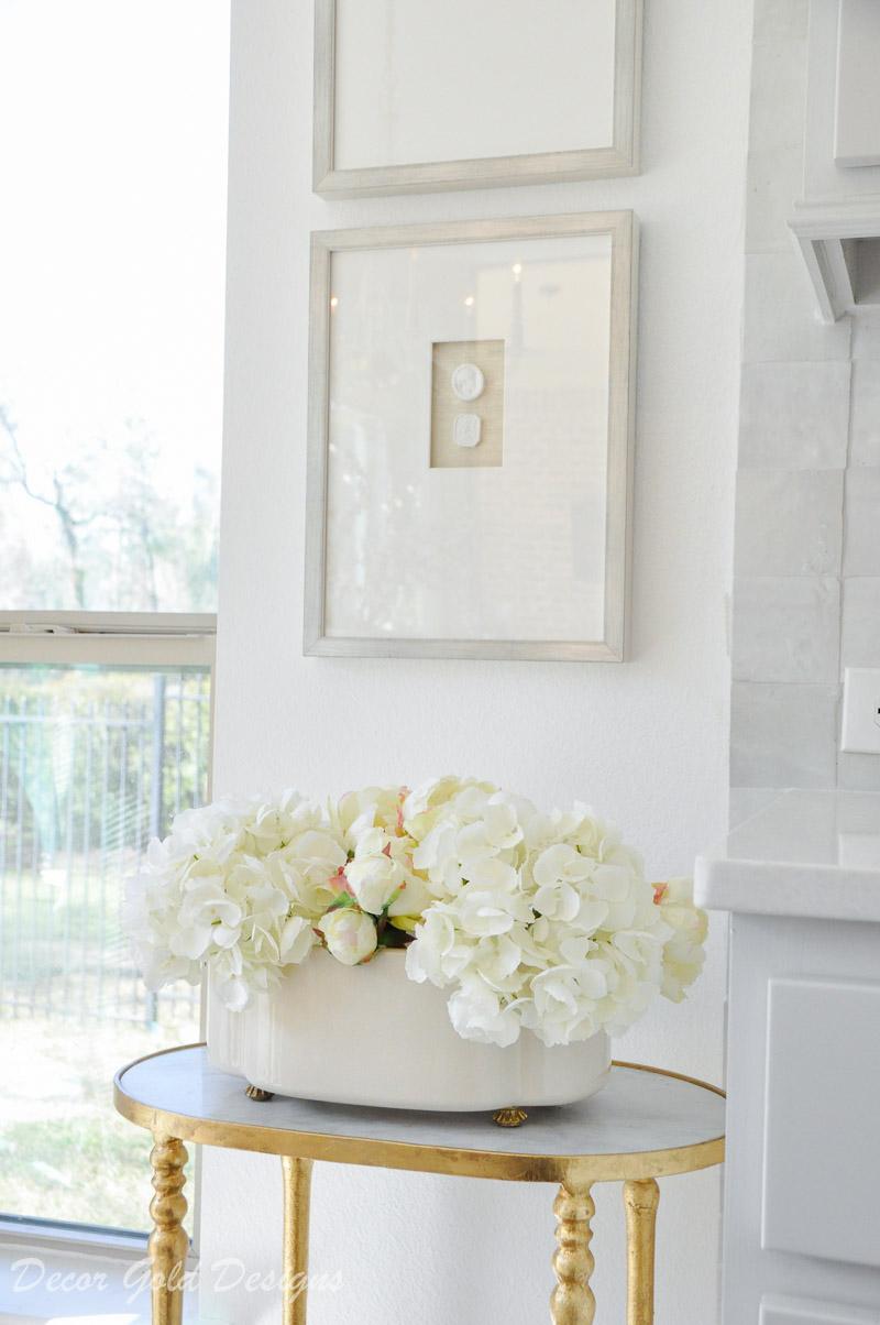 beautiful faux white hydrangeas peonies