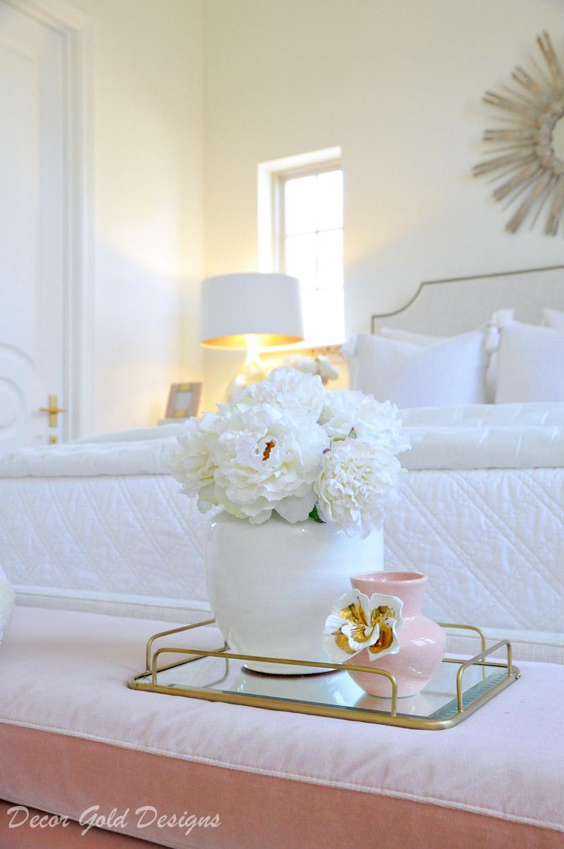 Beautiful faux white peonies round vase