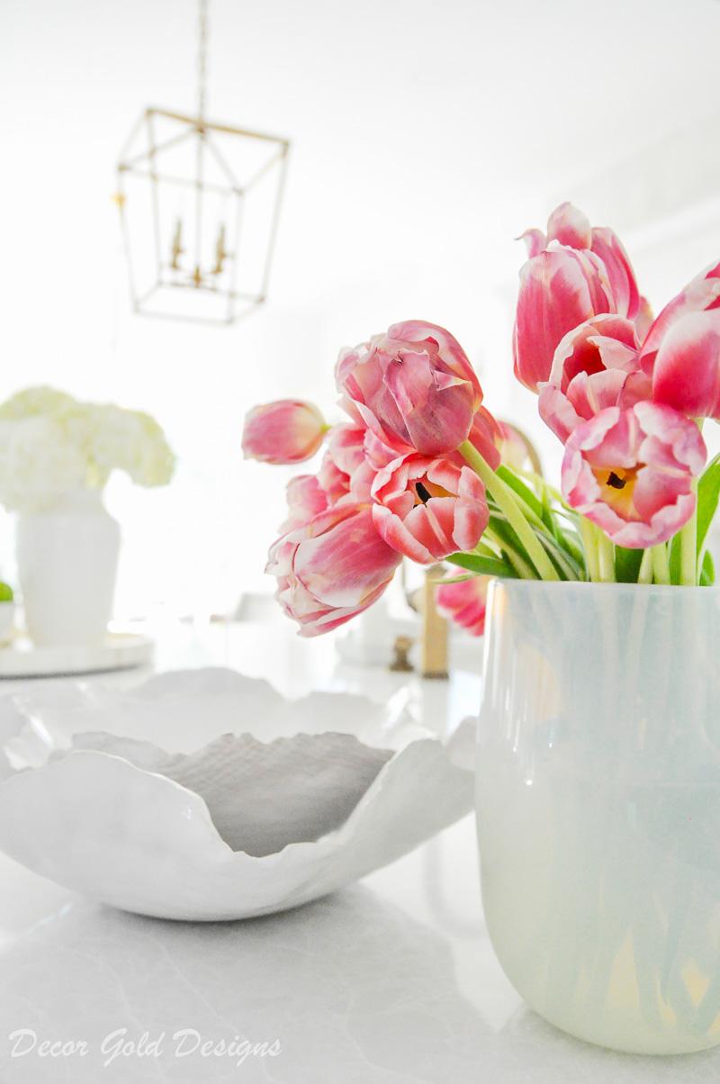 beautiful pink tulips white vase